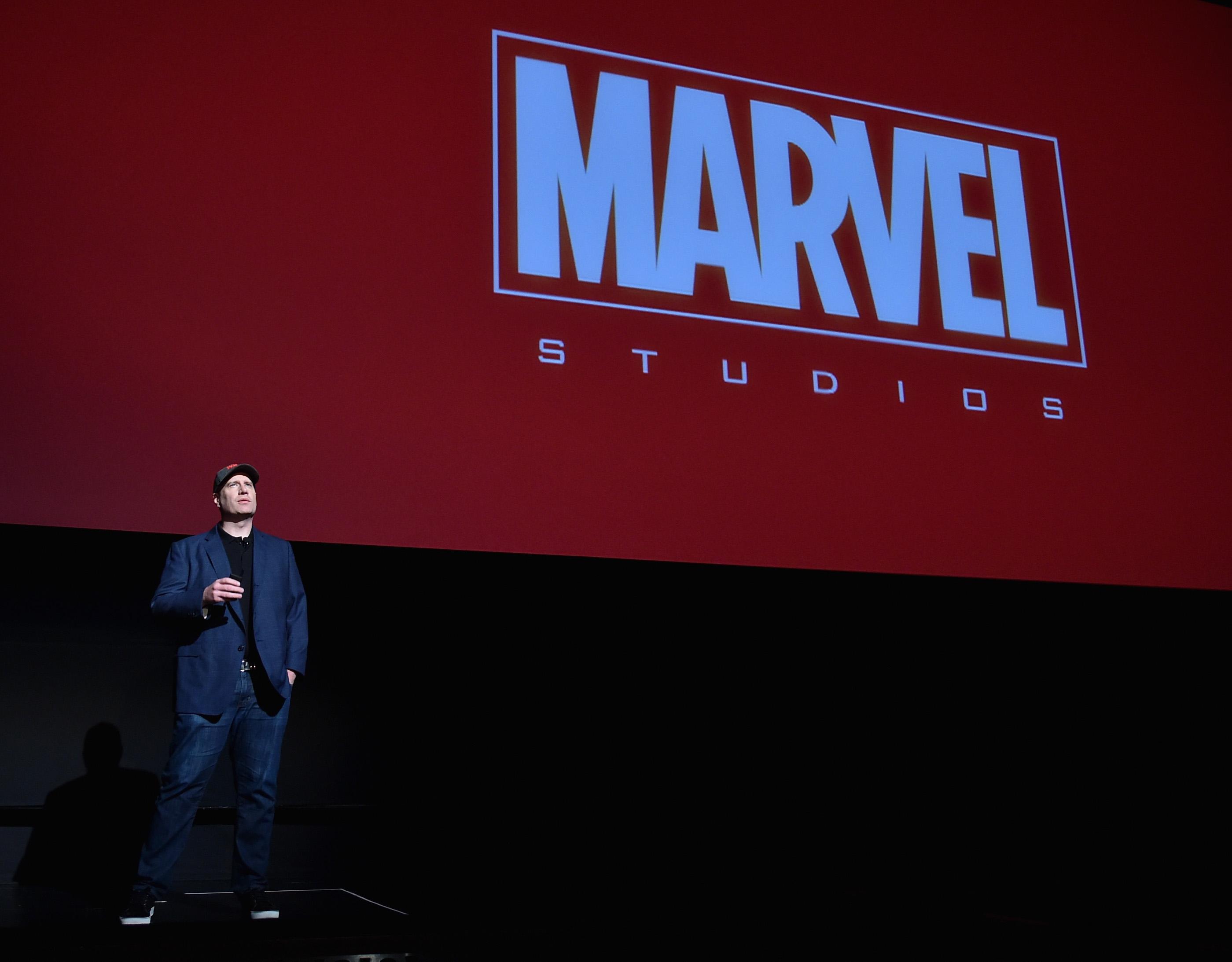 Kevin Feige lors d'un événement Marvel Studios.  Photo: (Getty)