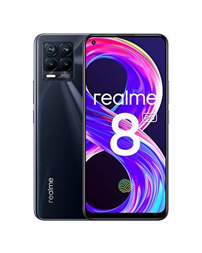 """Realme 8 Pro Smartphone Free, Caméra Quad Ultra 108 MP, Plein écran AMOLED supérieur de 6,4 """", Charge SuperDart 50 W, Batterie 4500 mAh, Dual Sim, NFC, 6 + 128 Go, Noir Punk"""