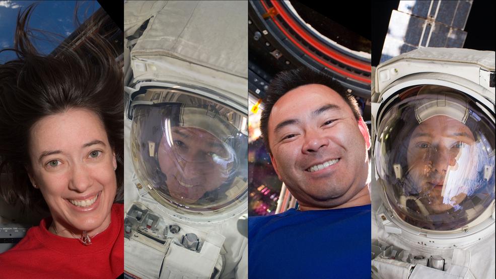 L'équipage de la mission Crew-2 de SpaceX.  De gauche à droite, les astronautes de la NASA Megan McArthur et Shane Kimbrough, l'astronaute de la JAXA Akihiko Hoshide et l'astronaute de l'ESA Thomas Pesquet.