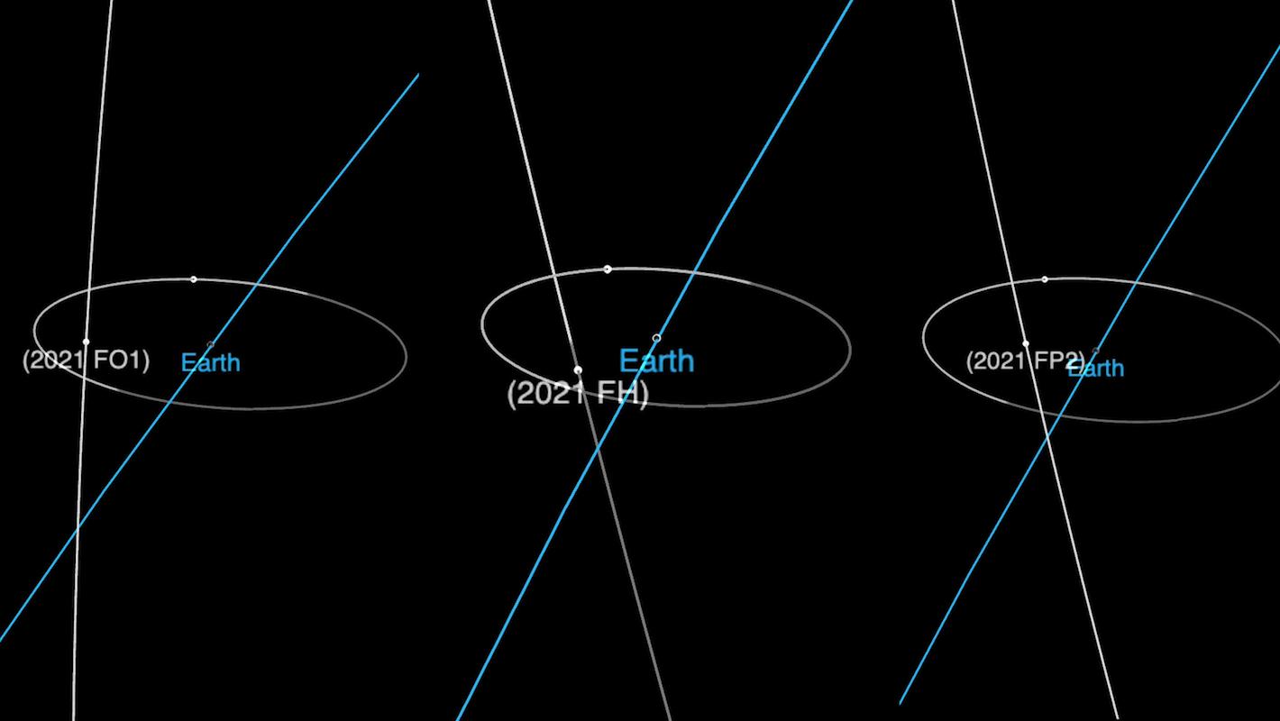 Ces trois diagrammes orbitaux montrent les trajectoires des astéroïdes géocroiseurs 2021 FO1, 2021 FH et 2021 FP2, qui se rapprochent de la Terre le 23 mars 2021.