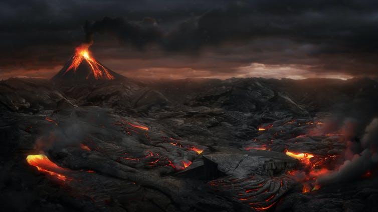 Une interprétation artistique d'un paysage post-éruption volcanique.