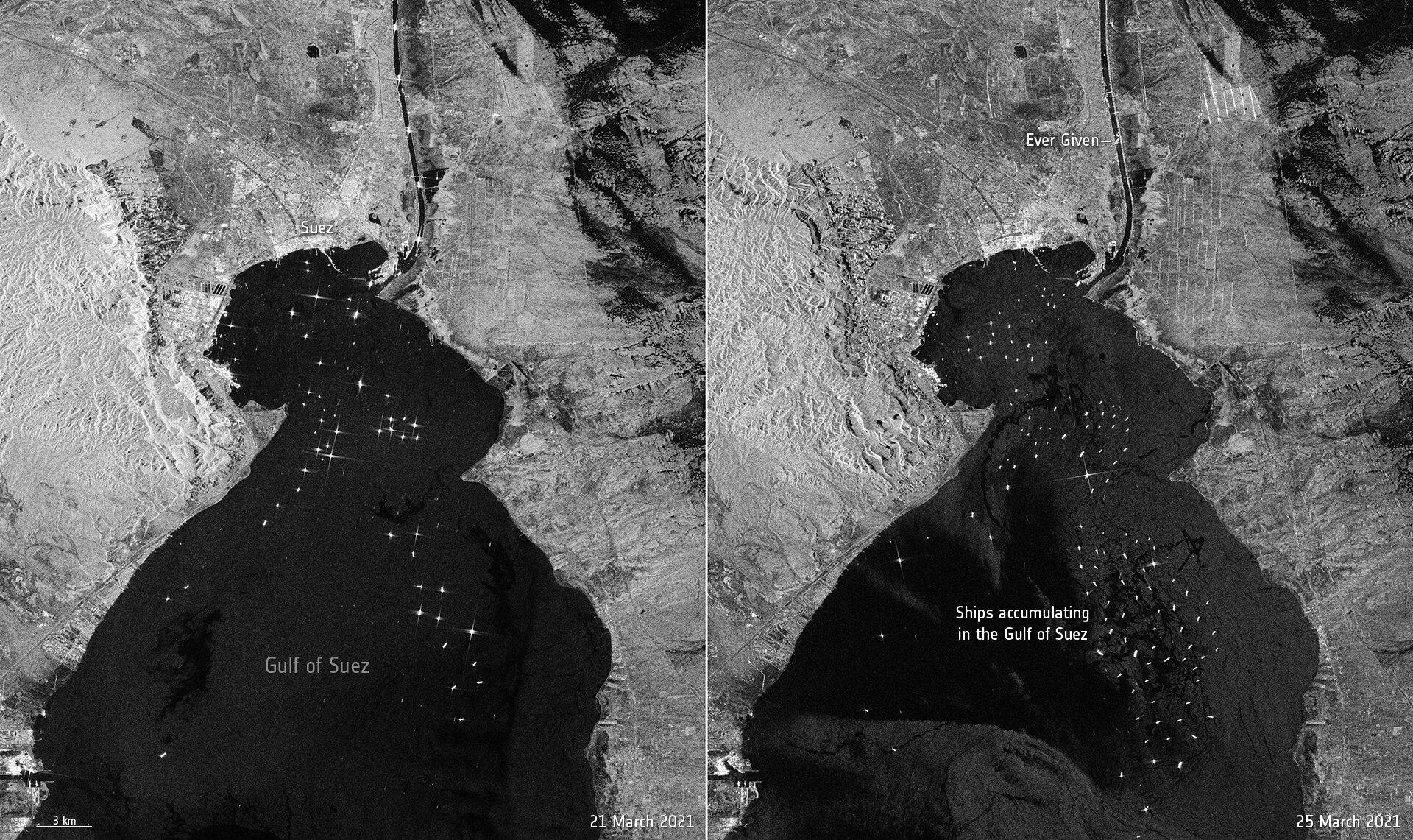 Les images Copernicus Sentinel-1 prises le 21 mars 2021, avant qu'Ever Given ne soit bloqué, et le 25 mars montrent l'accumulation de navires en attente de traverser le canal de Suez.