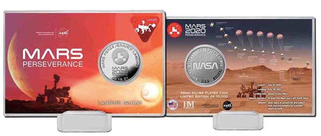 Nous offrons deux prix - cette pièce d'atterrissage commémorative du rover Perseverance Mars 2020 et un écusson de mission - à un heureux gagnant.