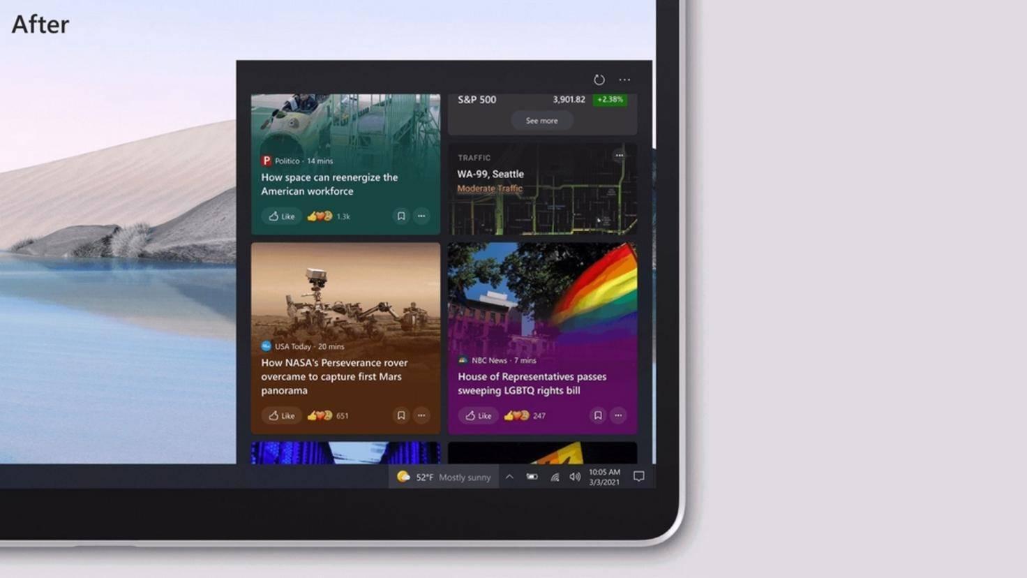 Intérêts de Windows 10 News