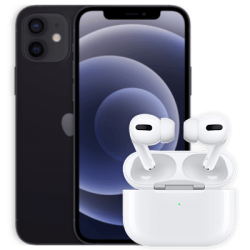 Vue avant de l'iPhone 12 avec AirPods Pro Black 1