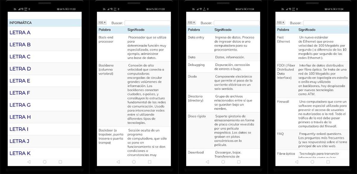 application de dictionnaire informatique