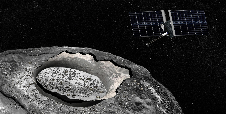 Concept d'artiste du vaisseau spatial Psyche, une mission proposée pour le programme Discovery de la NASA qui sera lancé en 2023 pour explorer un objet considéré comme un noyau planétaire dépouillé.