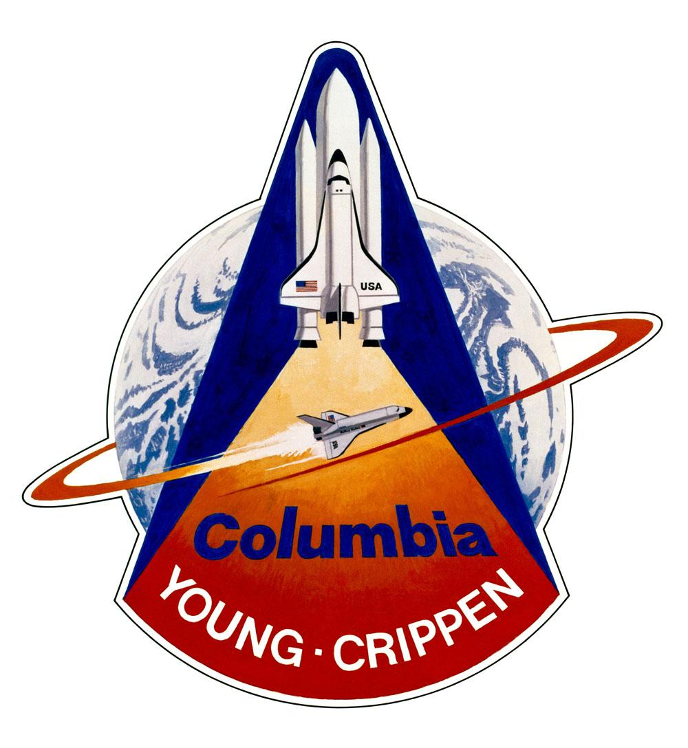 Il s'agit de l'insigne officiel du premier test en vol orbital de la navette spatiale (STS-1).  L'équipage du 102 Columbia sur STS-1 sera composé des astronautes John W. Young, commandant, et Robert L. Crippen, pilote.  L'œuvre d'art a été réalisée par l'artiste Robert McCall.