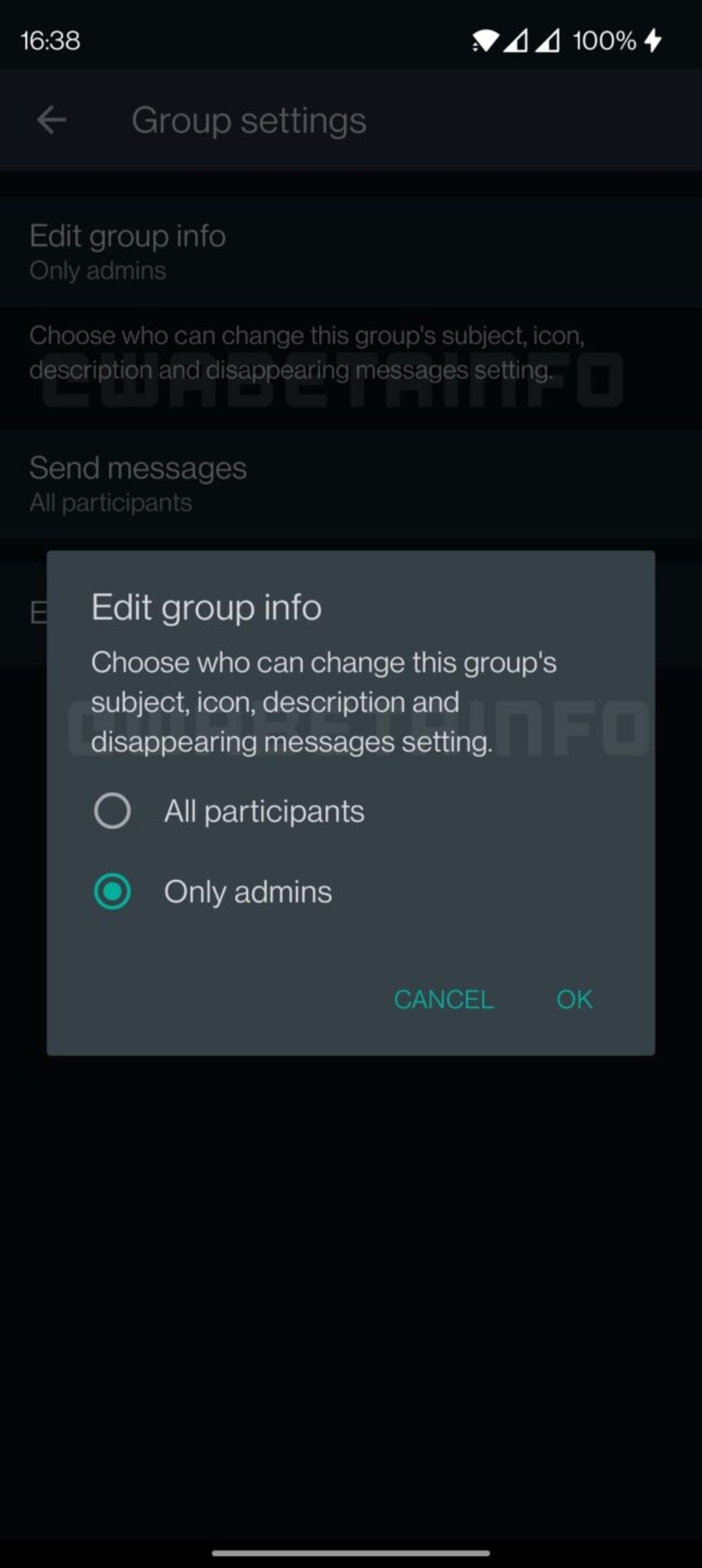 C'est le menu à partir duquel l'activation des messages temporaires par n'importe quel membre du groupe peut être activée ou désactivée