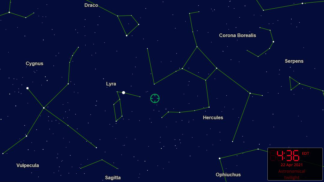 La pluie de météores Lyrid de 2021 aura une période d'activité du 16 au 30 avril. Elle culmine dans la nuit du 21 au 22 avril.  Le rayonnement de la douche est situé au centre de cette carte stellaire, dans la constellation de la Lyre.