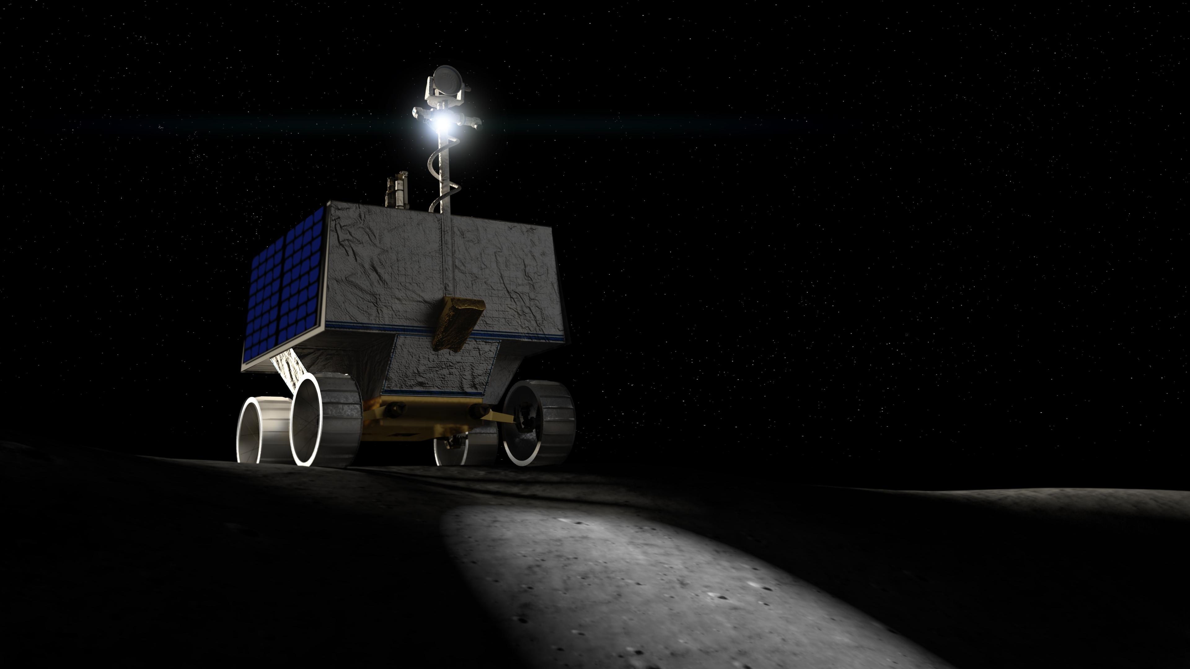 Représentation d'artiste d'un rover lunaire de la NASA appelé VIPER, conçu pour cartographier les endroits où la glace se cache sous la surface de la lune.