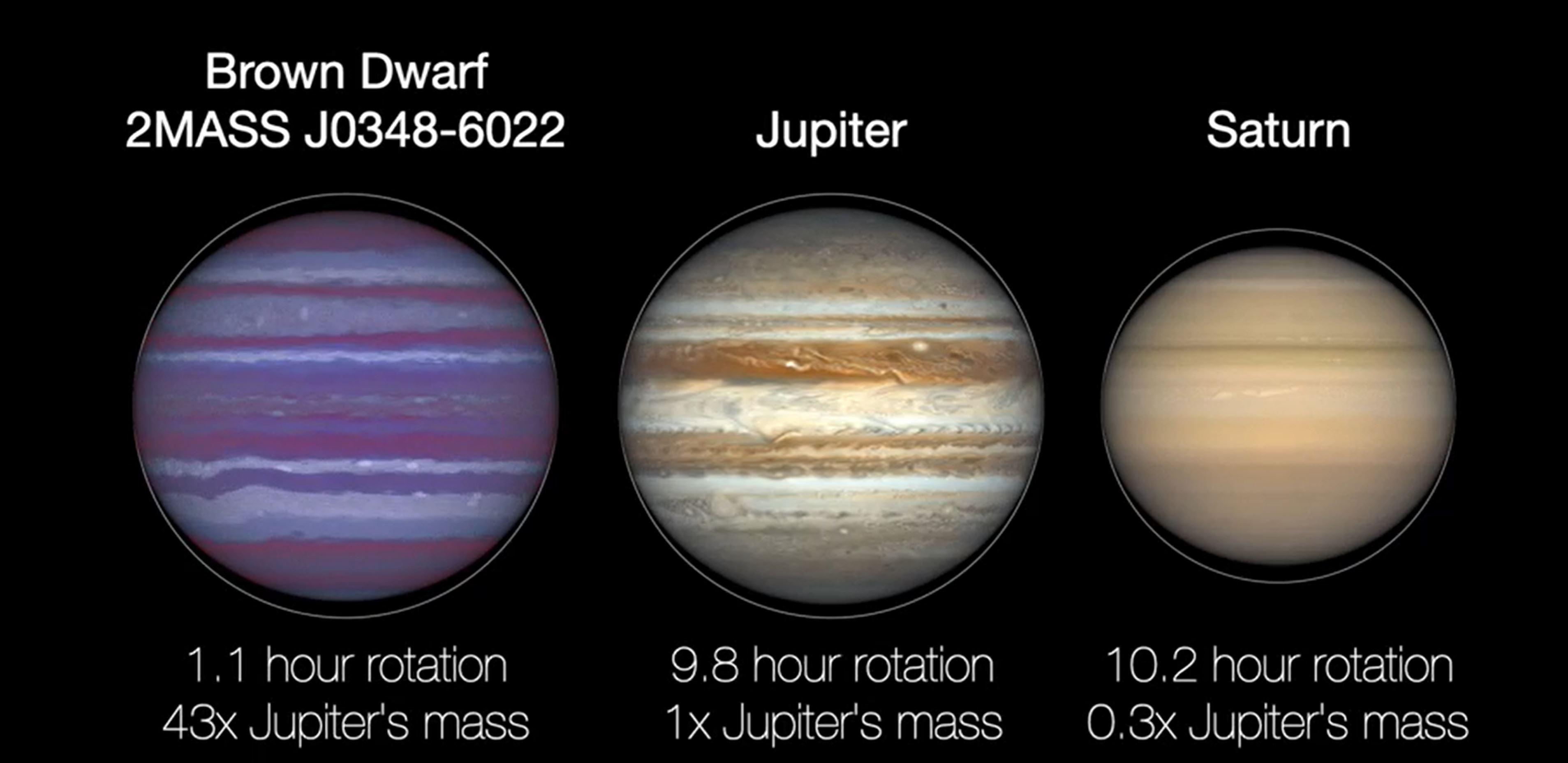 Les trois naines brunes étudiées ont à peu près la taille de Jupiter, mais entre 40 et 70 fois plus massives.