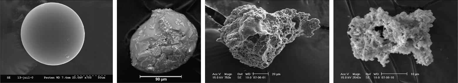 Images au microscope de quatre particules de poussière extraterrestres découvertes par les chercheurs en Antarctique.