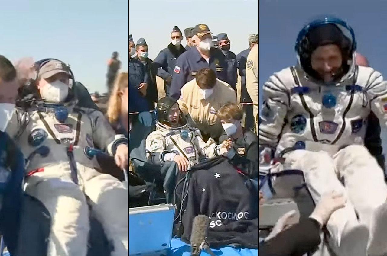 L'astronaute de la NASA Kate Rubins (à gauche) et les cosmonautes de Roscosmos Sergey Ryzhikov et Sergey Kud-Sverchkov sont vus après avoir atterri à bord du Soyouz MS-17 depuis la Station spatiale internationale sur la steppe kazakhe le 17 avril 2021.