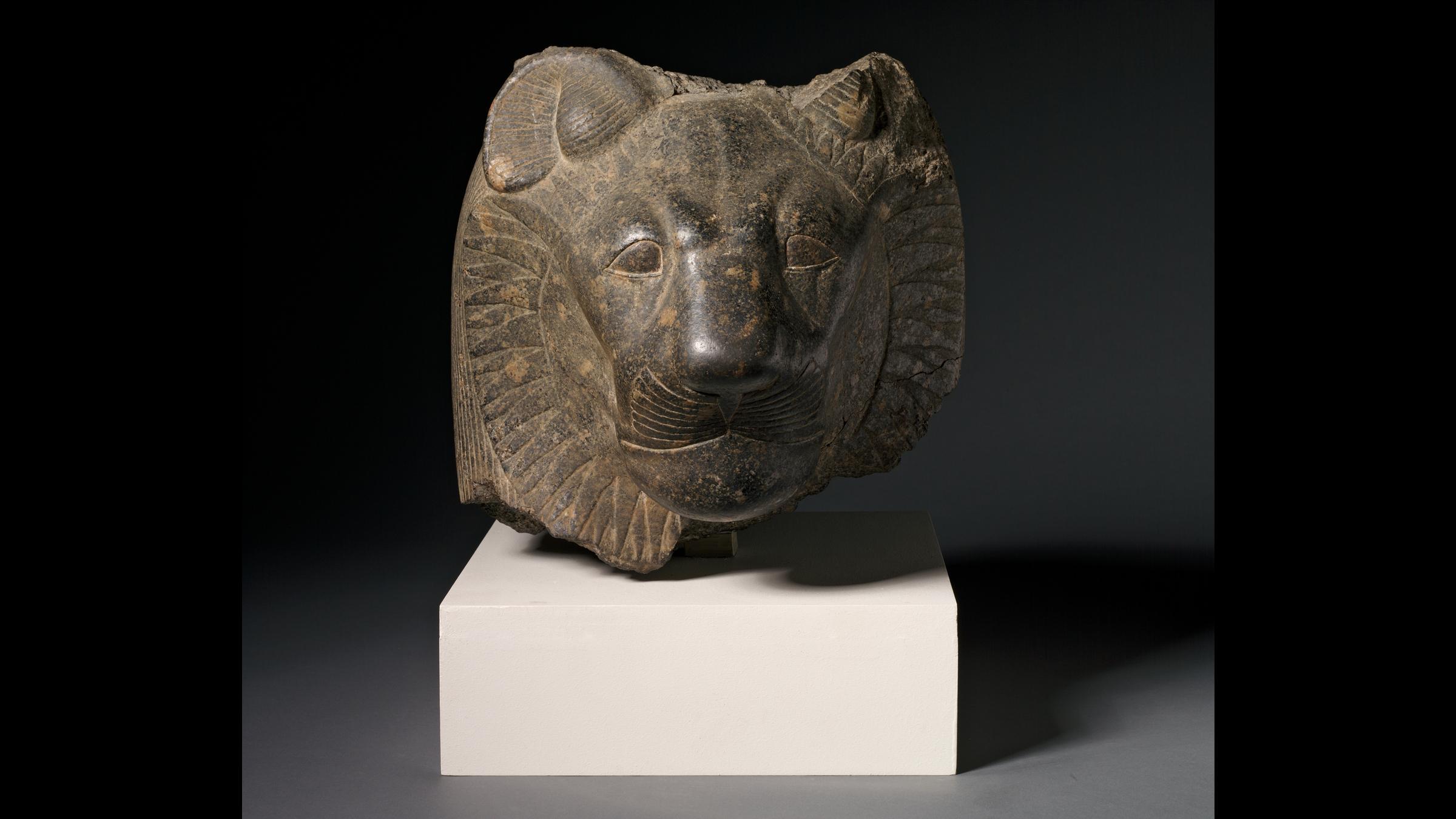La tête de Sekhmet, datant du Nouvel Empire égyptien, Dynastie 18, règne d'Amenhotep III, 1391-1353 av.