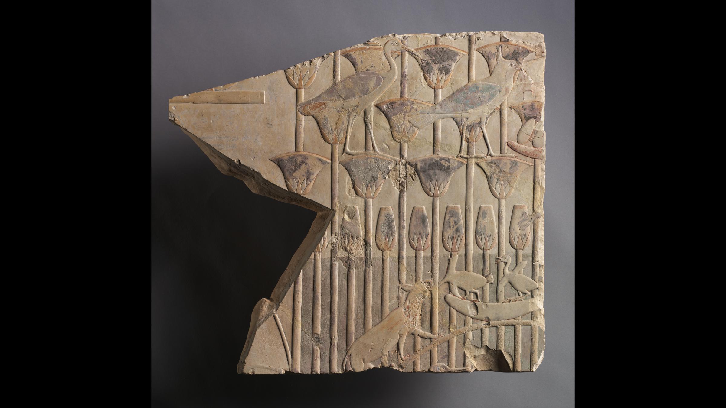 Une scène de marais avec un chat et des oiseaux, datant de 667-647 avant JC, datant de la fin de la période égyptienne, de la fin de la dynastie 25 au début de la dynastie 26