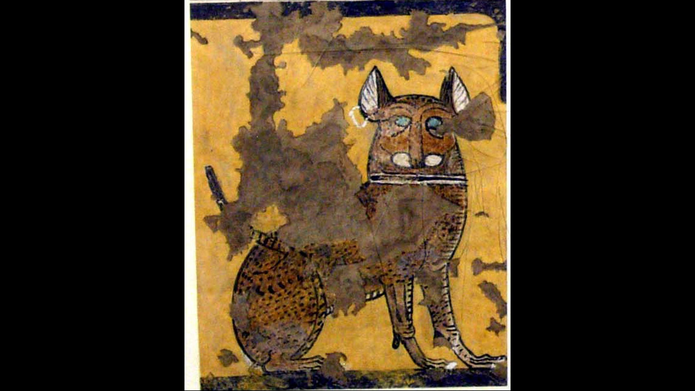 Cette peinture d'un chat assis sous une chaise a été trouvée dans le tombeau d'Ipuy, et date du Nouvel Empire / Ramesside (1295-1213 avant JC).