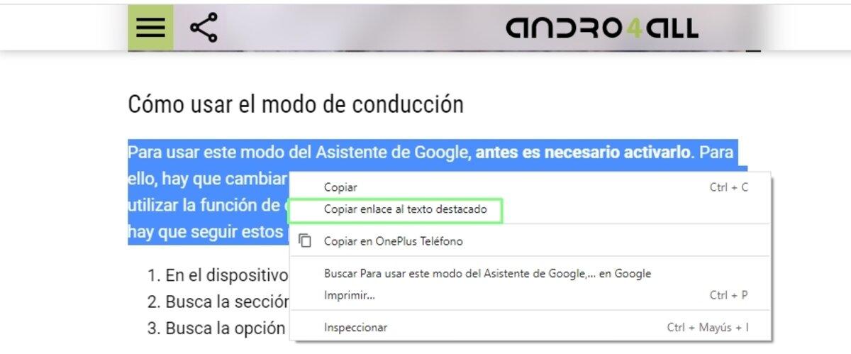 Copier le lien vers l'accroche dans Google Chrome