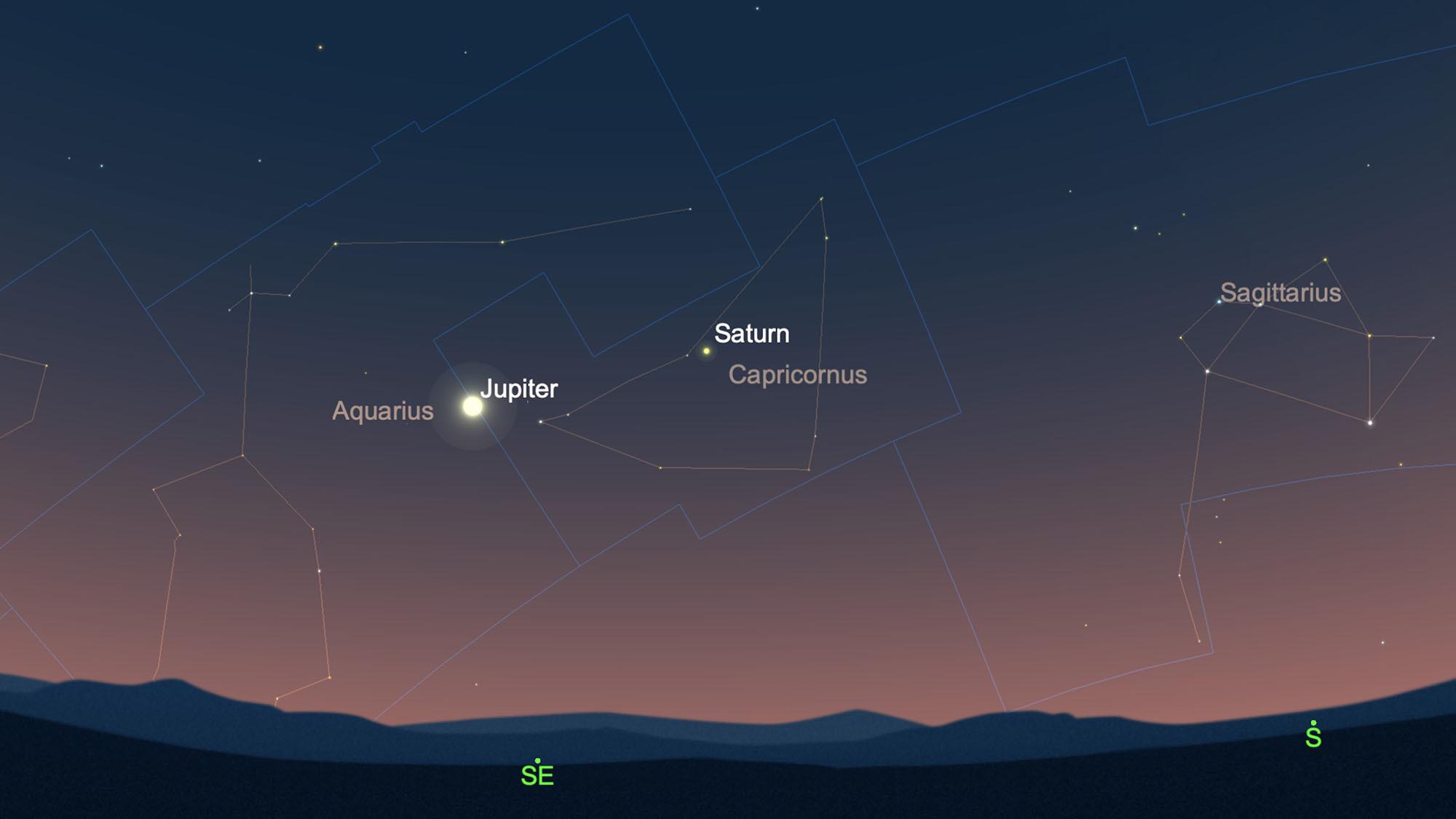 Attrapez Jupiter et Saturne dans la constellation du Capricorne avant le lever du soleil le 27 avril 2021.