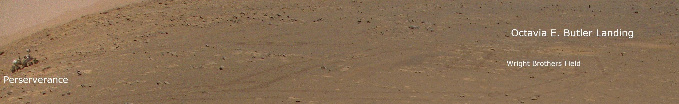 L'hélicoptère Mars de la NASA Ingenuity se trouvait à environ 85 mètres du rover Perseverance lorsqu'il a pris cette photo révolutionnaire le 25 avril 2021.