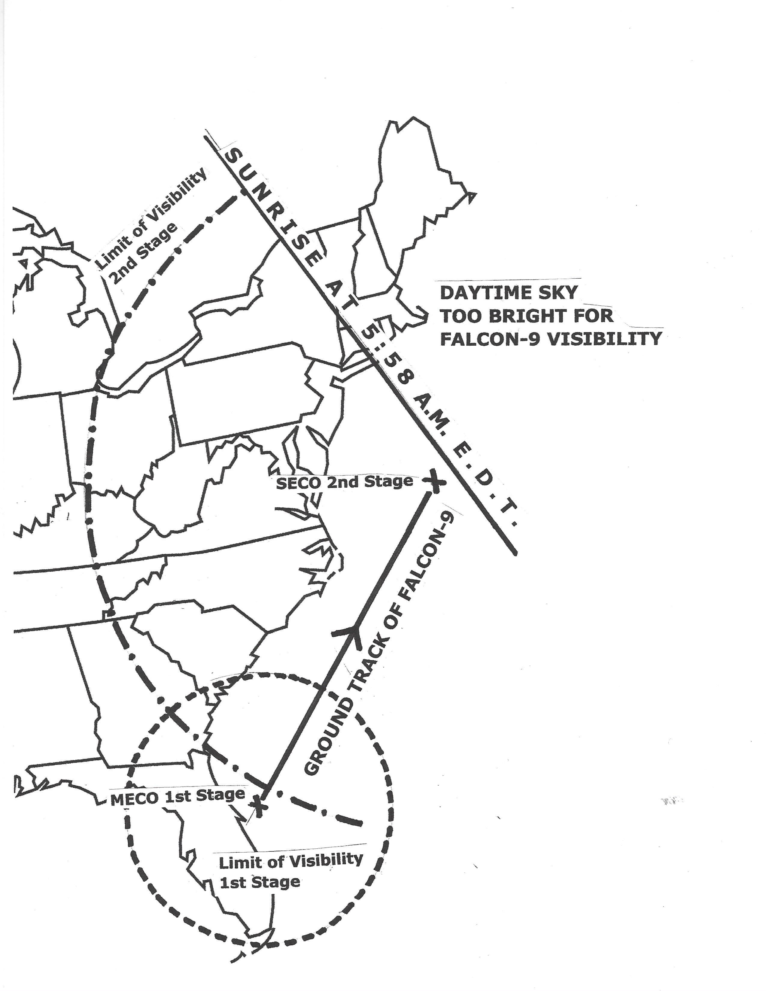Cette carte du ciel montre la zone de visibilité sur la côte est des États-Unis pour le lancement de la fusée Falcon 9 et de l'astronaute Crew-2 de SpaceX le 23 avril 2021.