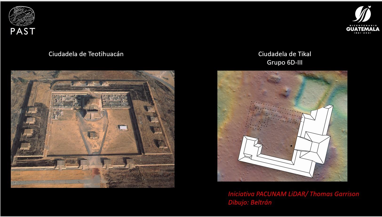 Une diapositive de PACUNAM comparant la Citadelle de Teotihuacan (à gauche) à la forme de la nouvelle structure de Tikal.