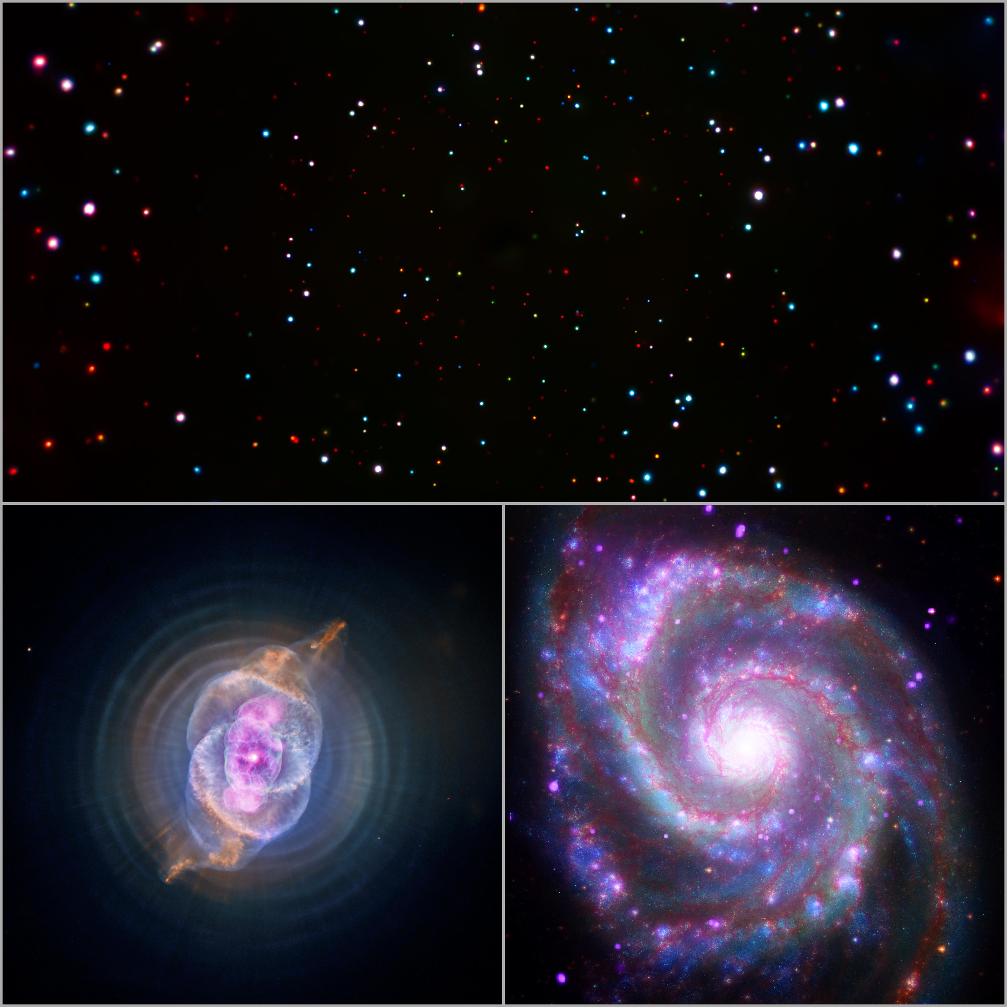 Au sommet de ce trio d'images se trouve une vue du Chandra Deep Field South.  En bas à gauche se trouve la nébuleuse de l'oeil de chat et en bas à droite, la galaxie Whirlpool (Messier 51).