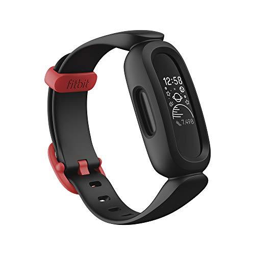 Tracker d'activité Fitbit Ace 3 pour enfants de 6 ans et plus avec cadrans d'horloge animés amusants, étanche jusqu'à 50 m et jusqu'à 8 jours d'autonomie de la batterie, noir / rouge sport