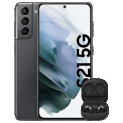 Vue avant du Galaxy S21 5G avec Galaxy Buds Pro gris 1