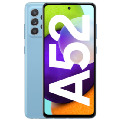 Vue avant du Galaxy A52 bleu 1