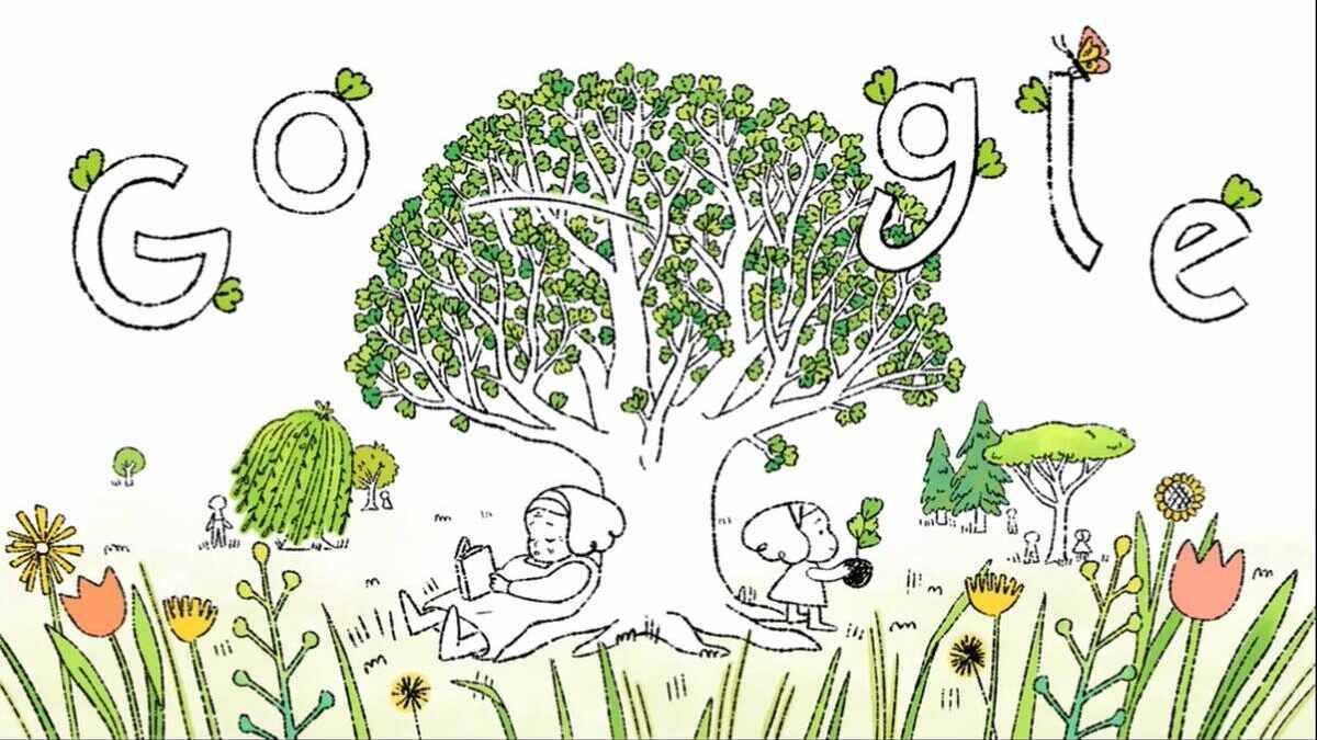 La vidéo Google Doodle du Jour de la Terre 2021 vise à encourager davantage de personnes à planter des arbres.  Image: Google / Sophie Diao