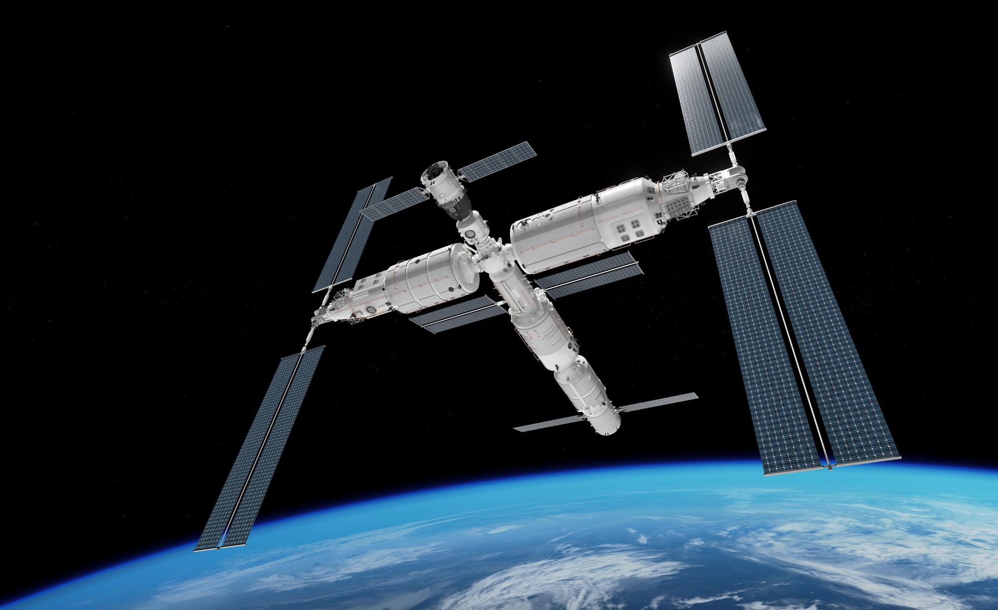 Représentation d'artiste de la station spatiale chinoise prévue en orbite terrestre basse.