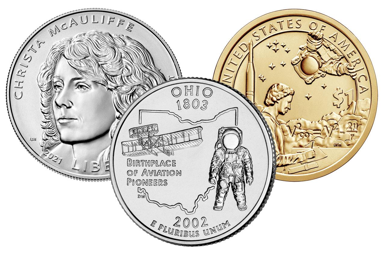 Les anciennes pièces de la Monnaie américaine représentant des astronautes comprennent le quartier de l'État de l'Ohio de 2002, la pièce de 1 $ amérindien 2019 et le dollar en argent commémoratif Christa McAuliffe 2021.