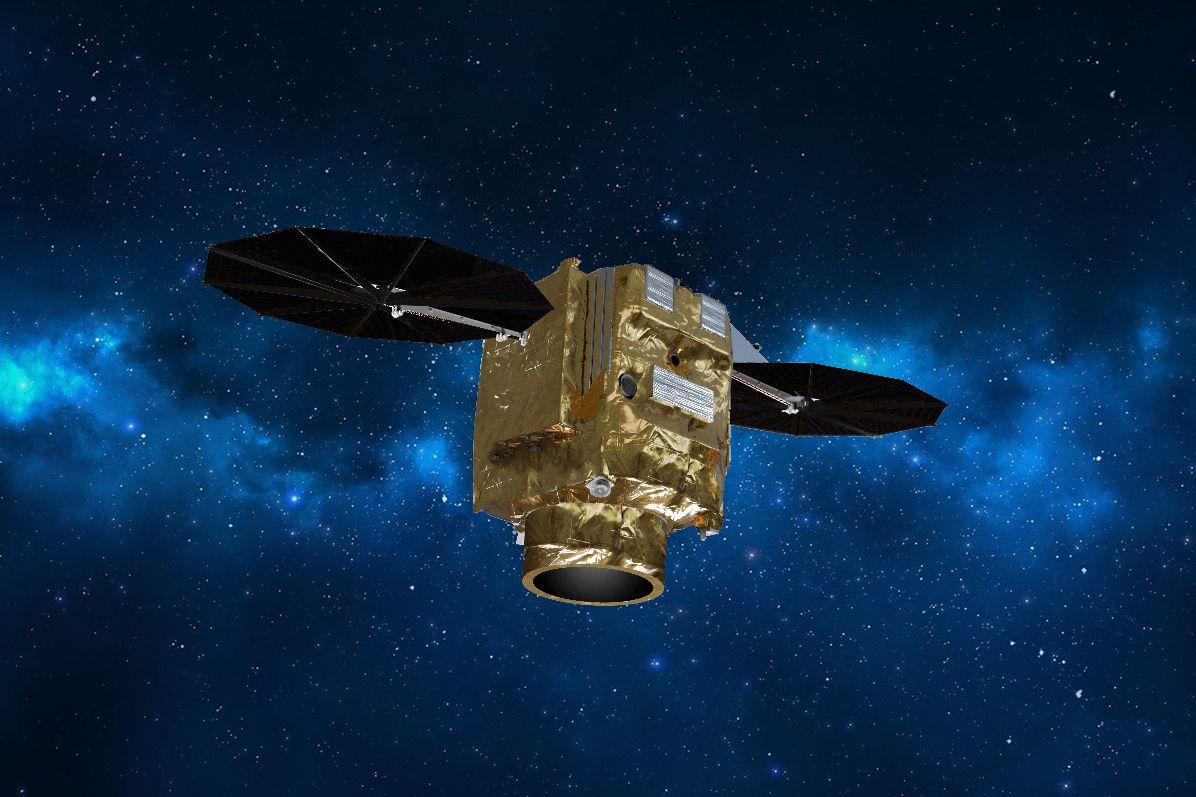 Vue d'artiste d'un satellite Pléiades Neo en orbite.