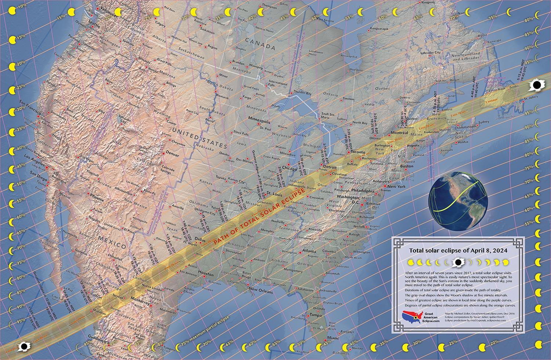 Une éclipse solaire totale sera visible le 8 avril 2024 au-dessus du Mexique, des États-Unis et du Canada.