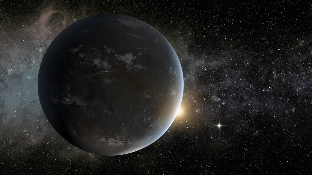Impression artistique de Kepler-62f, une super-Terre située à environ 1 200 années-lumière de la Terre.