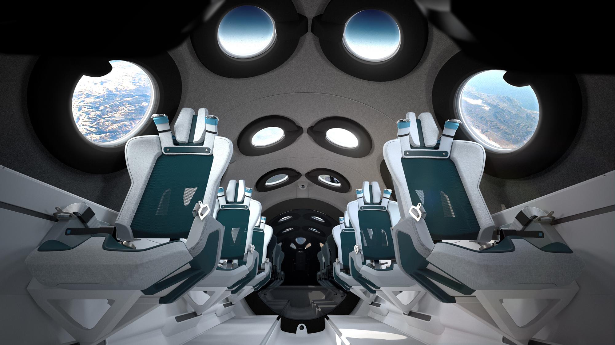 L'intérieur du SpaceShipTwo de Virgin Galactic comprend six sièges passagers élégants, une multitude de fenêtres et de l'espace pour flotter dans l'habitacle.