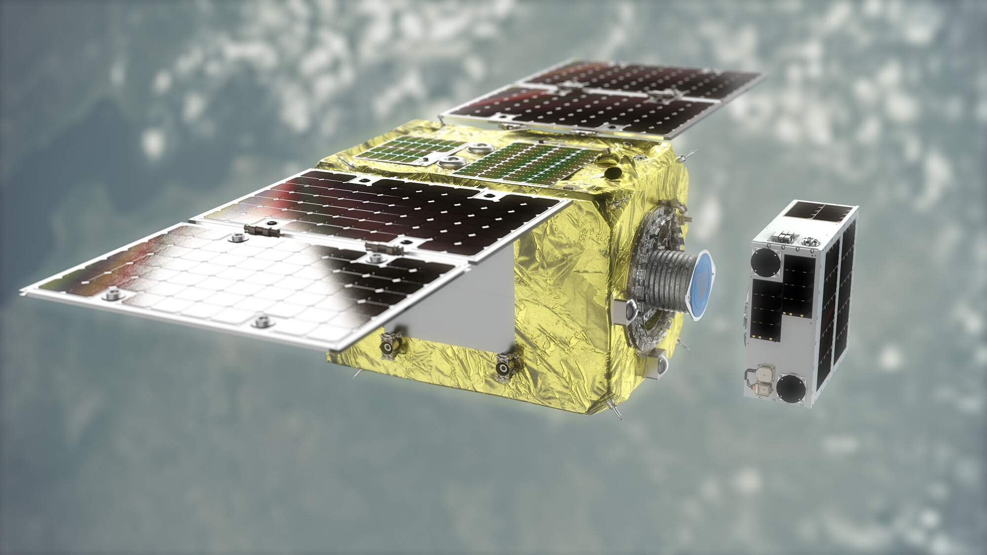 """La mission ELSA-d (End-of-Life Services by Astroscale-Demonstration) testera une technique d'amarrage magnétique pour retirer les débris spatiaux de l'orbite.  le """"réparateur"""" Le satellite utilisera le GPS pour localiser les débris spatiaux, puis s'y accrochera à l'aide d'une plaque d'amarrage magnétique pour les transporter vers l'atmosphère terrestre, où ils brûleront."""