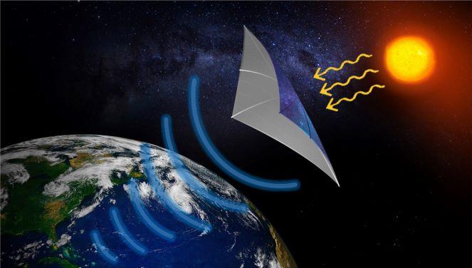 Une représentation du projet SSPIDR (Space Solar Power Incremental and Demonstrations Research), qui vise à transmettre l'énergie solaire de l'espace à la Terre.  Le SSPIDR consiste en plusieurs expériences de vol à petite échelle qui permettront de faire évoluer la technologie nécessaire pour construire un prototype de système de distribution d'énergie solaire.