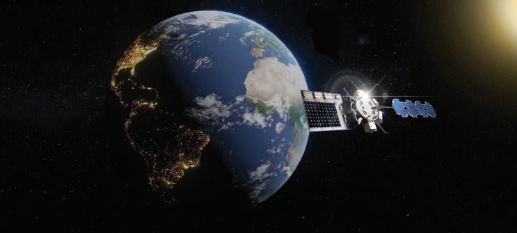 Représentation artistique du vaisseau spatial Arachne du Laboratoire de recherche de l'Armée de l'Air, dans le cadre d'un effort en plusieurs étapes visant à développer un système de transmission d'énergie solaire basé dans l'espace capable de fournir une énergie utilisable indépendamment de l'heure, de la latitude ou du temps.
