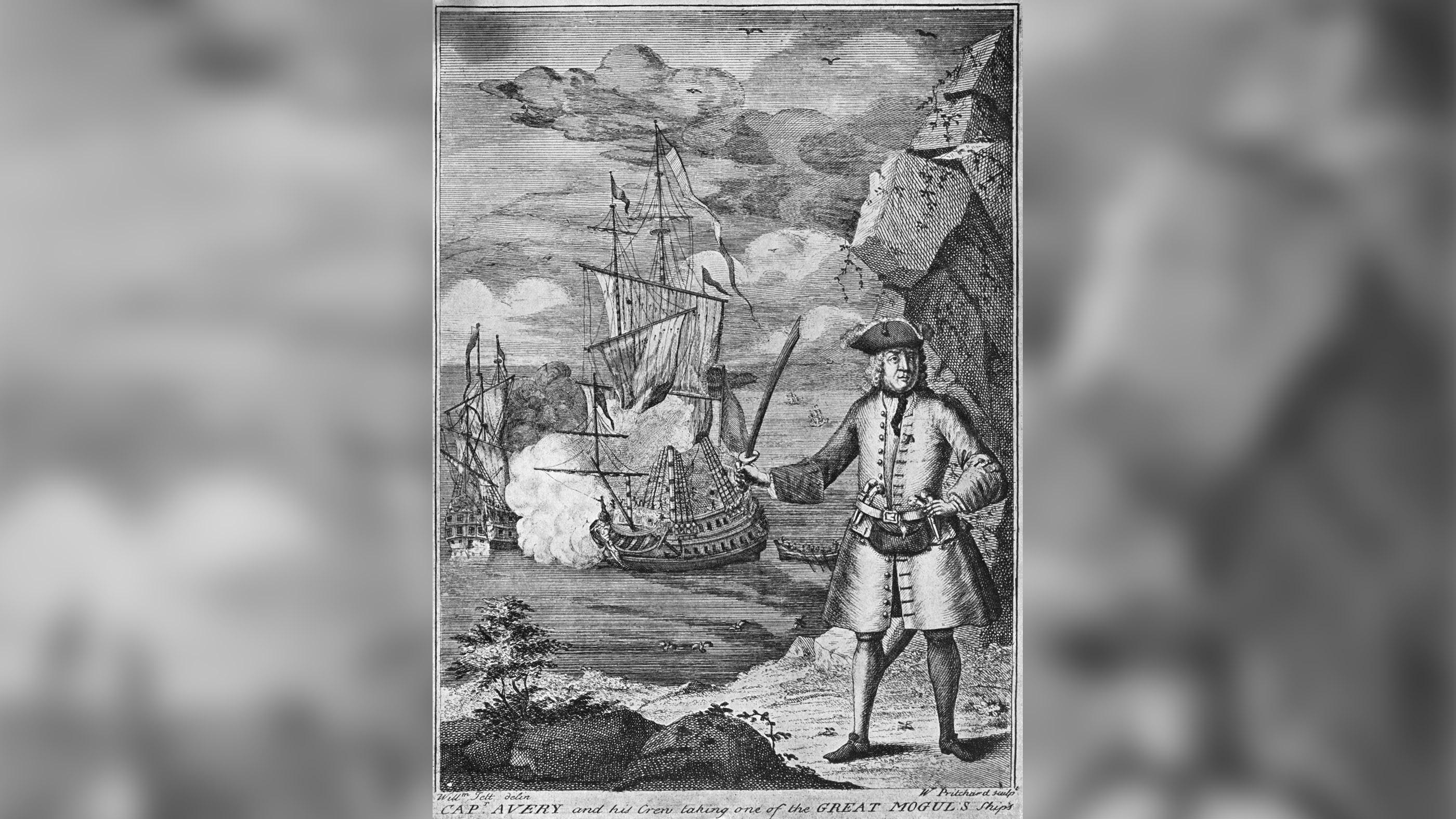 Le capitaine Henry Every et son équipage prennent l'un des navires du Great Mogul dans cette illustration.