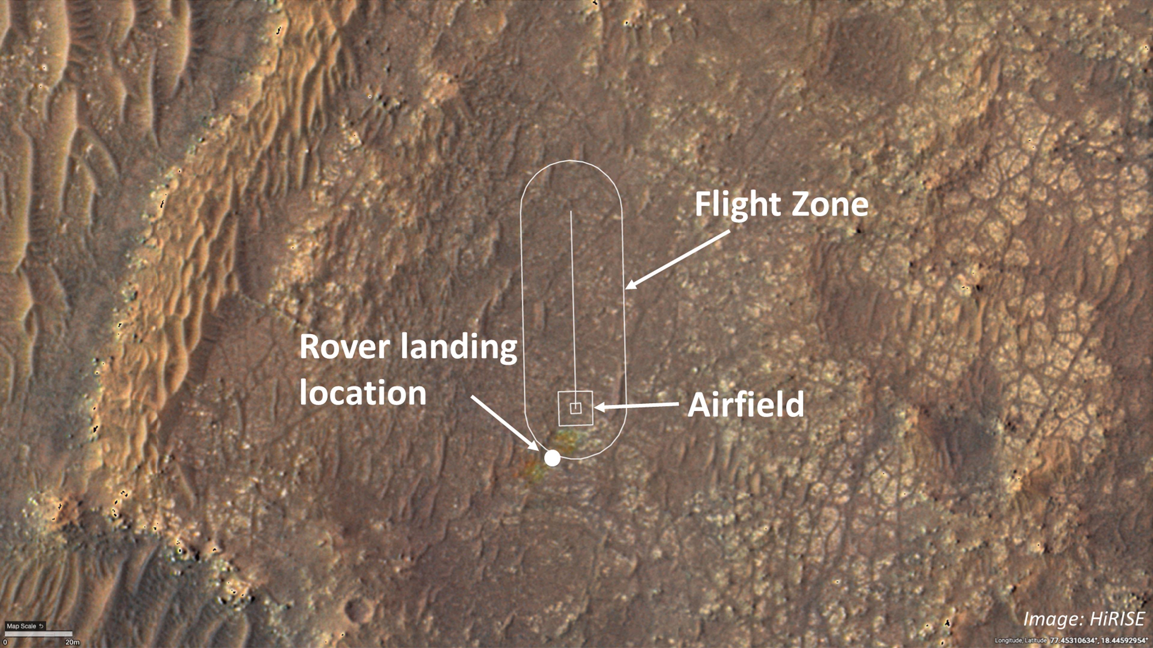 Cette image montre où l'équipe d'hélicoptères Ingenuity Mars de la NASA tentera ses vols d'essai.  Les ingénieurs hélicoptères ont ajouté les emplacements du site d'atterrissage du rover (également appelé «Octavia E. Butler Landing»), de l'aérodrome (la zone où l'hélicoptère décollera et reviendra) et de la zone de vol (la zone dans laquelle il volera. ) sur une image prise par la caméra HiRISE (High Resolution Imaging Experiment) à bord de Mars Reconnaissance Orbiter de la NASA.