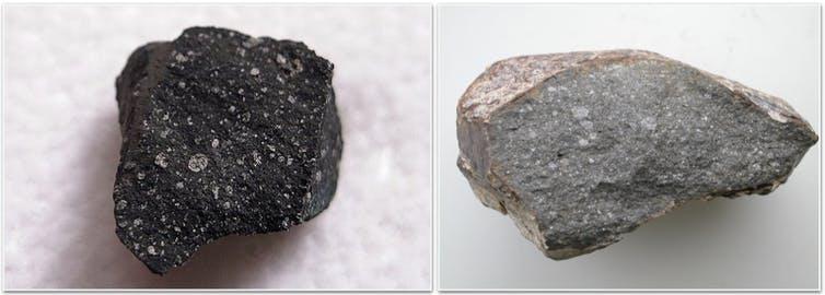 La météorite Murchison, une chondrite carbonée contenant des minéraux hydratés et des composants organiques qui s'est formée dans la partie externe du système solaire (0,46 g).  À droite: la météorite Sahara 97096, une chondrite enstatite sans minéraux hydratés qui s'est formée dans la partie interne du système solaire (70 g).