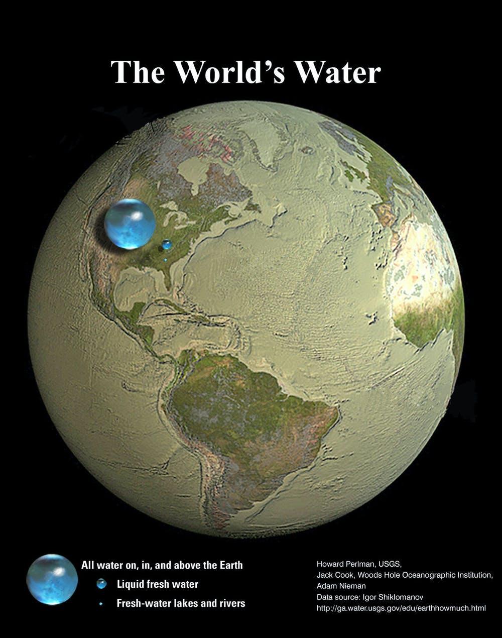 Toutes les eaux de surface de la Terre sont contenues dans une sphère de 1 300 km de diamètre, c'est-à-dire de la taille de l'Allemagne du nord au sud.