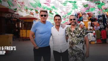 Gordon Ramsay, Gino D'Acampo et Fred Siriex dans leur série Roadtrip sur ITV 'Crédit: Britbox