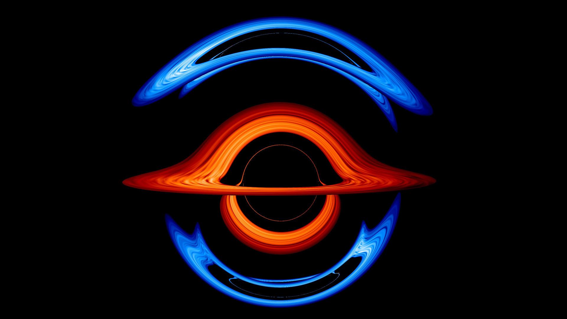 Cette image montre la vue déformée d'un trou noir supermassif plus grand (disque rouge) lorsqu'il passe presque directement derrière un trou noir compagnon (disque bleu) avec la moitié de sa masse.