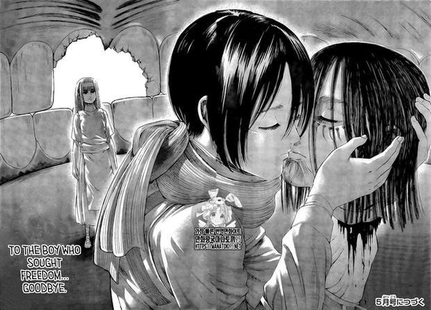 Mikasa embrasse Eren à la fin du chapitre 138 et le tuer libère enfin Ymir (Photo: Kodansha)