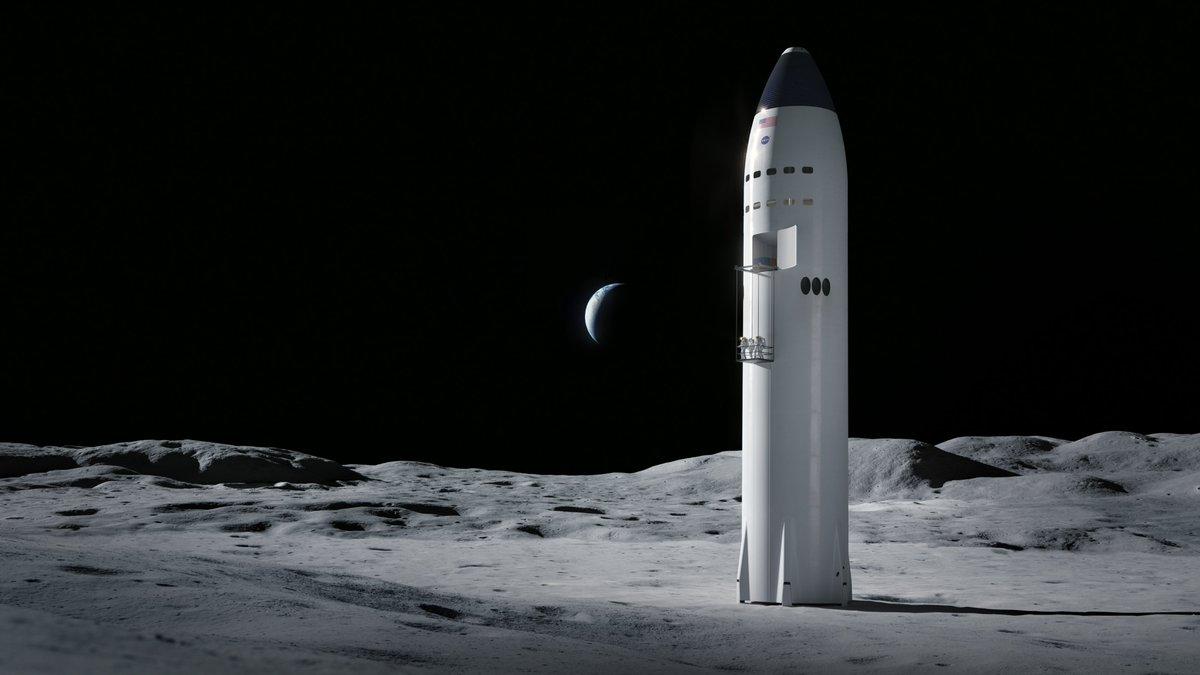 Une illustration du vaisseau spatial de SpaceX sur la lune.  Le 16 avril 2021, la NASA a annoncé que SpaceX avait remporté le contrat de construction de l'atterrisseur lunaire pour son programme Artemis.