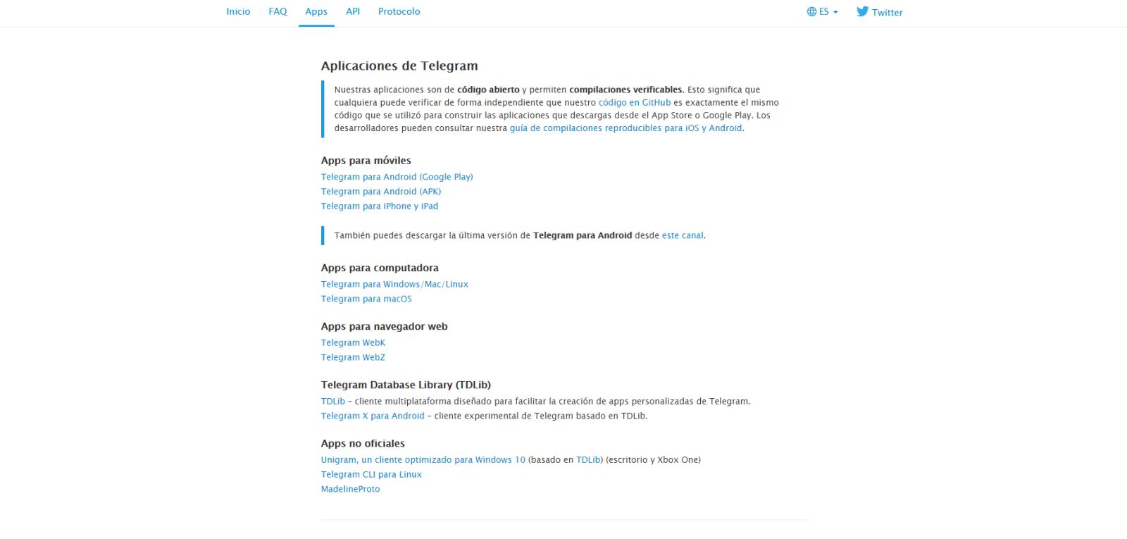 De là, nous pouvons télécharger l'une des applications officielles de Telegram
