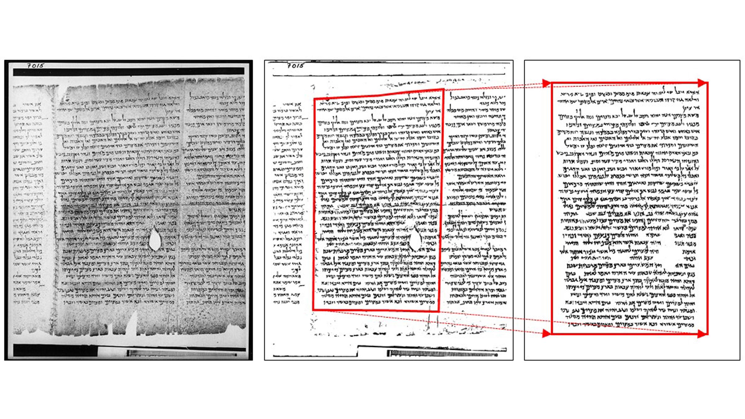 Une image en échelle de gris de la colonne 15 (à gauche) du grand rouleau d'Isaïe, son image correspondante créée à l'aide de BiNet (au milieu) et l'image corrigée nettoyée (à droite).  Remarquez comment les images du milieu et de droite sont pivotées et transformées géométriquement, ce qui donne une meilleure image pour le traitement.